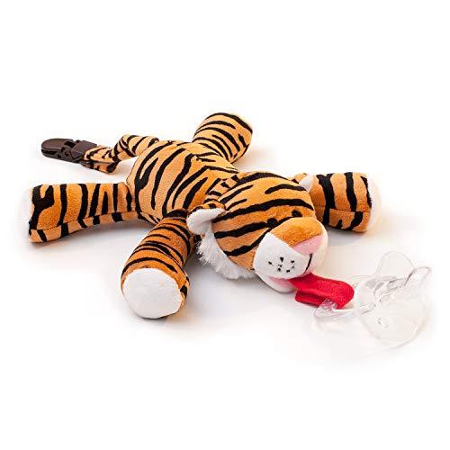 BabyHuggle Tiger-Schmusetier Schnuller | Softes Kuscheltier an abnehmbarem Baby Silikon-Sauger mit Clip-Band & Quietsche-Ton. Beißring-Halterung. Sicher & beruhigend Geschenk-Idee Geburt. (Baby-schnuller Mit Plüschtier)