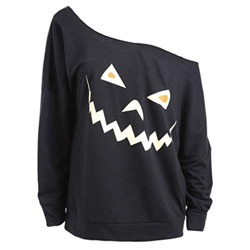 ng Frauen Halloween Kürbis Spukhaus Casual Täglichen Party Dating Sweatshirt Pullover Tops Bluse Shirt(Schwarz, EU-36/CN-S) ()