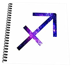 3dRose Sagittarius Horoscope Symbol - Purple Zodiac Astrological Star Sign - Drawing Book, 8 by 8-inch