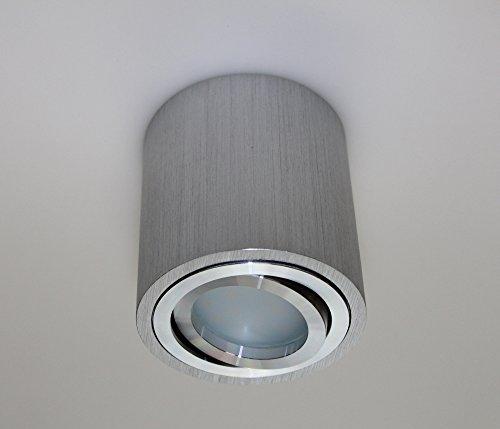 Leuchtstoff-licht-halter (Aufbauleuchte Aufbaustrahler Unterbaustrahler Unterbauleuchte / Helitec-1120 mit GU10 Fassung / Silber-grau Aufbauspot Spot Deckenleuchte Deckenspot Möbelleuchte Schrankleuchte)