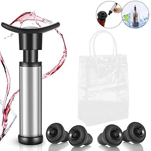 Wein Vakuumpumpe, Jestool Weinpumpe mit 4 x Stopfen und 1 x Transparente PVC Wein Ice Bag für Lange Haltbarkeit und Kaltes Bier, Weißwein