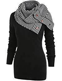 3f13d2c25ce619 ZIYOU Damen Strickpullover mit Abnehmbar Schal Frau Gestrickt Langarm  Stehkragen Sweatshirt Bluse Tops