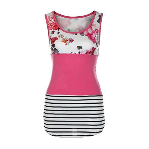 Manadlian - T-shirts Gilet Femmes Floral Print Lace Patchwork Débardeur Vintage T-Shirt sans Manches Casual Rose vif