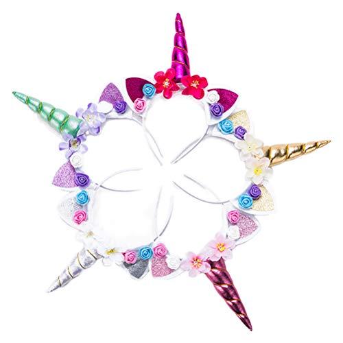 Toyvian Einhorn Stirnband Horn Haarreif Haarband, Perfekt für Kindergeburtstag, Halloween, Cosplay Kostüme, 5er Pack (5k Für Halloween-kostüme)