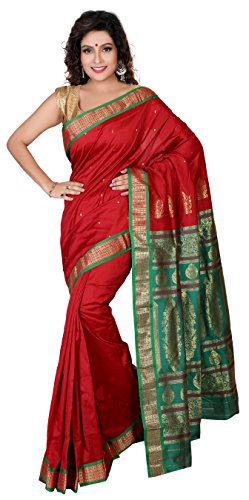Aruna Fashions Self Design Paithani Gatti 3D Art Silk Saree( Maroon color saree with Green color blouse piece)  available at amazon for Rs.999