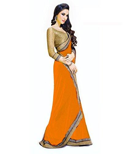 Poplin women's Jai Ho Orange colour Chiffon saree with heavy border  available at amazon for Rs.499