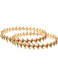 JFL - Traditional Fusion Ethnic One Gram Gold Plated Diamond Designer Bangle Set For Women And Girls.