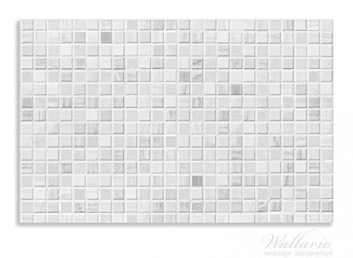 Wallario Herdabdeckplatte / Spritzschutz aus Glas, 2-teilig, 80x52cm, für Ceran- und Induktionsherde, Motiv Fliesen im Bad weiß-grau