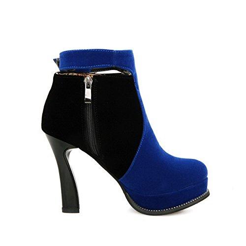 AgooLar Damen Gemischte Farbe Hoher Absatz Rund Zehe Reißverschluss Stiefel, Orange, 38