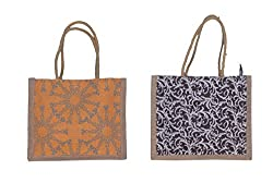 ABV Lunch Bag, Jute Bag, Small Size (Yellow and Black Color)-Pack of 2 Bag