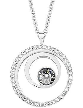 s.Oliver Damen-Kette 42+3 cm verstellbar mit Kreis-Anhänger Edelstahl Swarovski Kristalle