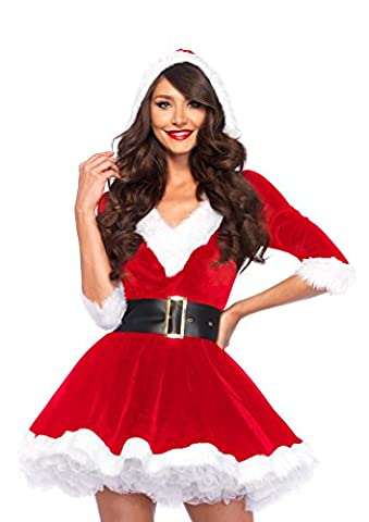 Leg Avenue Mrs Claus Hooded Dress Costume (XL, Red/