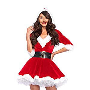 Leg Avenue Mrs Claus Hooded Dress Costume (M/ L, Red/ White)