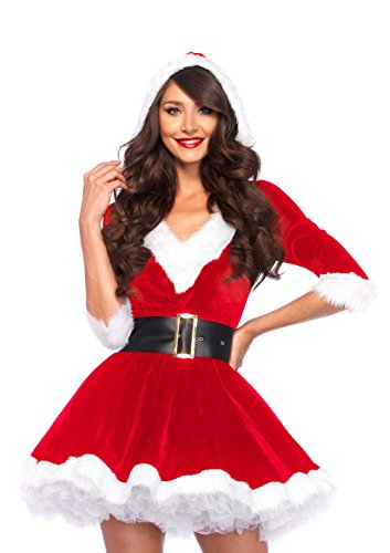 Leg Avenue 85356 - Kostüm, Mrs Claus Hooded Dress, Größe Small/Medium, rot/weiß, Damen Weihnachten (Mrs Santa Kostüm)
