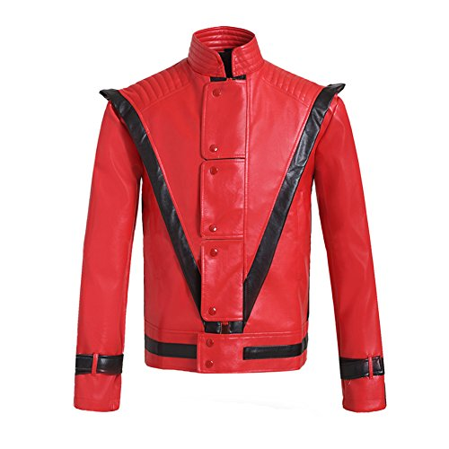 Mesky Herren Jacket Cosplay Plezkleidung PU Leather Rot Pop Singer Party Zubehör.