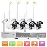 Kit de Seguridad DVR 4CH 1080P HDMI inalámbrico WLAN CCTV DVR NVR 1.0MP Cámara IP de Seguridad, P2P, HD Imagen, IR-Cut, Detección de Movimiento (4CH 1