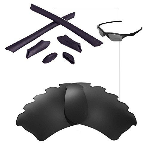 Walleva Belüftete Linsen und Earsocks für Oakley Half Jacket XLJ - Mehrfache Optionen (Schwarz Polarisierte Linsen + Schwarzer Earsocks)