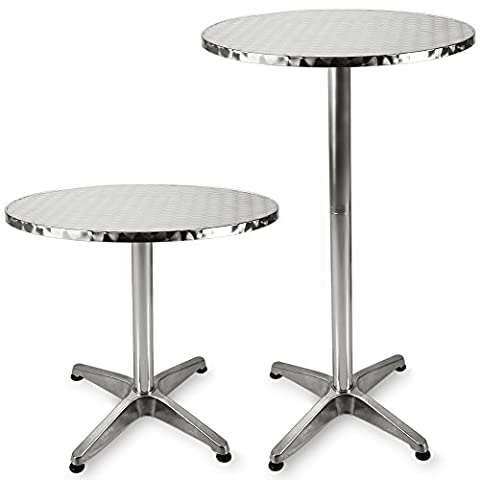 Round Bistro Bar Table Aluminium Bar Table with 2 Adjustable Heights 24 Inches High Table