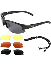 'Mile High' Cruise (Black) PILOT SPEC SUNGLASSES for Flying, Running, Cycling, Sailing & Other Sports. Interchangeable lenses, inc. Low Light. UVA / UVB (UV400) Protection. For Men & Women