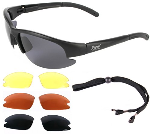 Mile High 'Cruise Black' schwarz PILOTENBRILLE Sonnenbrille für Pilot mit Wechselgläser (gelb, rot und grau verspiegelt). UV schutz 400. Fliegerbrille für Herren und Damen. Auch für den Sport (Sonnenbrille Die Für Ersatz-gläser)