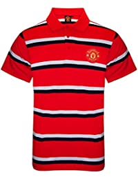 9f0d1fc8094 Manchester United FC Official Football Gift Mens Striped Polo Shirt