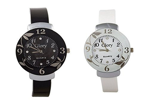 Watches for Womens ( MS ENTERPRISE White Dial Round Analogue Combo Watch For Girls - MS-D001-BW-8)