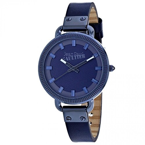 Jean Paul Gaultier Index Femme 36mm Bracelet Cuir Bleu Quartz Montre 8504313
