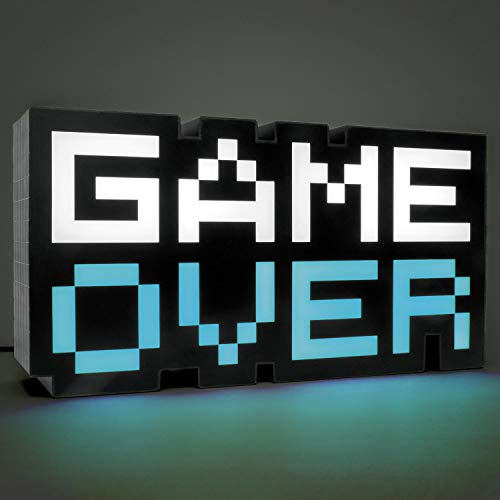 Paladone Game 8 bit | Lámpara LED de Noche | Sonido Reactivo de Música Reactiva Color Fases | Ideal para Dormitorios Infantiles, Oficina o Casa, Blanco y Negro, 7 x 3 x 16 cm