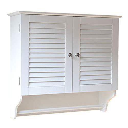 Schlafzimmer Mdf Schrank (Badezimmer Lagerung Schlafzimmer Wandschrank Balkon Schrank Wohnzimmer Wandschrank Medizin Schrank (Color : Weiß, Size : 63 * 60 * 23cm))