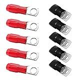Ahomi - Juego de 10 terminales de Cable de alimentación de Audio para Coche, 4 AWG, Conectores M8, Color Rojo y Negro