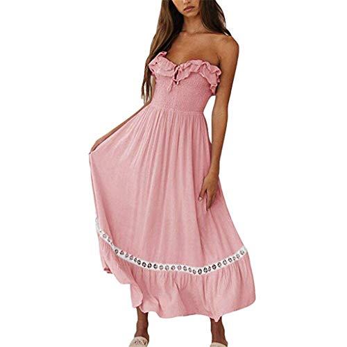 Kleider Damen Dasongff Sommerkleider Frauen Bikini Bademode Cover Up Cardigan Beach Badeanzug Kleid Strandkleid Chiffonkleid Weiß (Rosa-H, S) - Maxi-kleid Xxs
