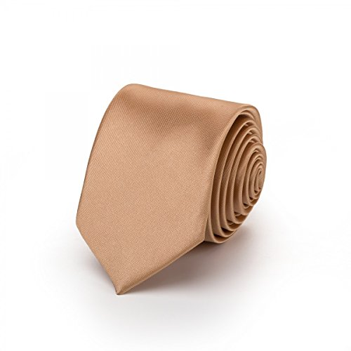 Rusty Bob - Krawatte schmal/dünn 3cm-5cm für Herren [auch für Kinder/Jungen] (uni,nicht gestreift) aus Polyester glänzt wie Seide - Braun / Gold
