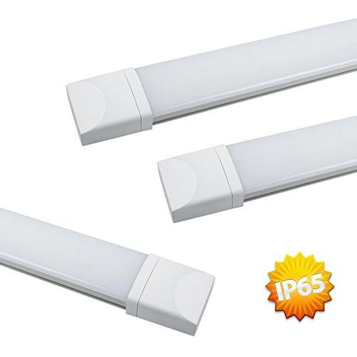 3er J&C® IP65 18W 4000-4500K Natural Weiß LED Lamp Innenbeleuchtung Nassraumleuchte Leuchstoffröhre 1400LM Bürobeleuchtung Wasserdicht Wannenleuchte Feuchtraumleuchte Staubdicht Korrosion