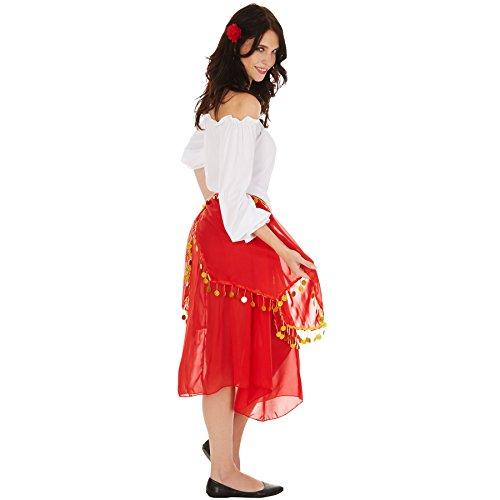 Imagen de disfraz de gitana para mujer   parte superior de corte carmen y magnífica falda, decorada con piedras de adorno, incl. flores para el pelo xxl   no. 301009  alternativa