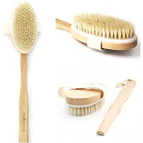 Premium Natural Boar Bristle Body Scrubbing Brush 2-in-1 - Long Handle with Detachable Head - Ideal for Dry Brushing - Perfect for Skin Exfoliation Reducing Cellulite and Stretch Mark Appearance by BATHING