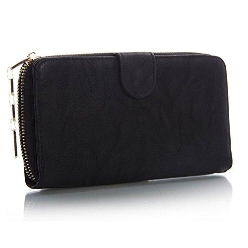 Da donna, in ecopelle, con chiusura a Zip, portamonete-Custodia a portafoglio porta carte di credito (nero)