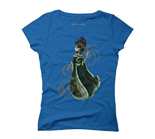 Gold Gilded Leda: A Bollywood Geisha Women's Graphic T-Shirt - Design By Humans Royal Blue