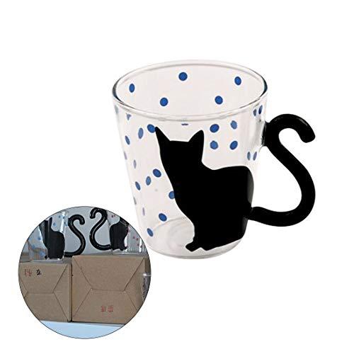 Promozioni Tazza di caffè Carino Creativo Cat Kitty Vetro Tazza Tazza Tazza di tè Latte Tazza di caffè Musica/Punti/English Home Office Cup (Color : Blue dot)