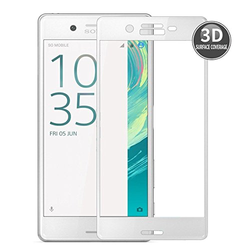 Sony Xperia X Performance (Blanco) Película Protectora 3D Curvada E-Hamii Protector Completo de la Cobertura Proteccion de Vidrio Templado 9H Anti-cero Protector de Pantalla Completa HD