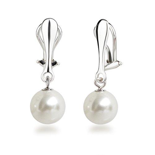Schöner-SD Perlen Ohrclips Hänger Clip Ohrringe 925 Silber mit runden Perlen 10mm weiß (Silber-clip-ohrringe)