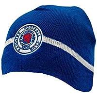 05cbf402f8c Rangers F.C. Official GLASGOW RANGER FC home style Blue white stripe beanie  hat