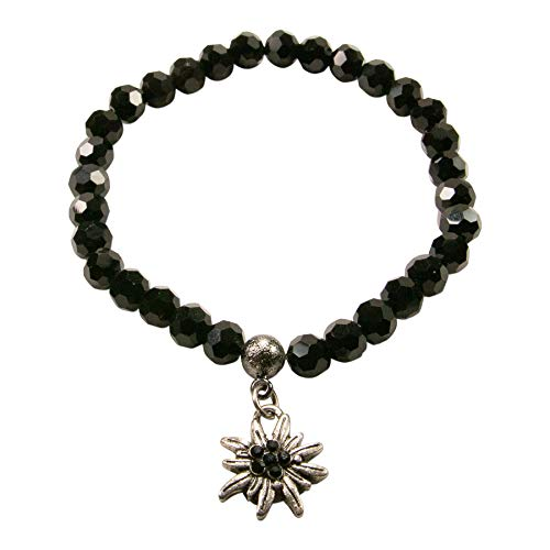 Alpenflüstern Perlen-Trachten-Armband Strass-Edelweiss Mini - Damen-Trachtenschmuck, elastische Trachten-Armkette, Perlenarmband schwarz DAB059