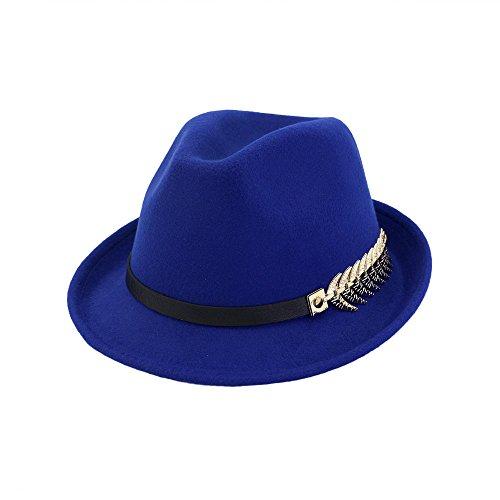 Yao Frauen Fedora Wolle Baumwolle Polyster Metall Blatt Fischgräte Hut für Winter Männer Herbst Elegante Dame Papa Trilby Homburg Kirche Jazz Caps (Color : 6, Size : M) -