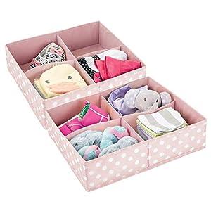 mDesign 2er-Set Aufbewahrungsboxen für das Kinderzimmer, Bad usw. – Kinderzimmer Aufbewahrungsbox mit je vier Fächern…