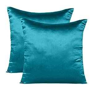 Soft and Comfortable Silky Satin Silk Pillowcase Pillow Case Cover for Hair & Skin Home Decor (Cushion Cover Corsair Blue, 12 x 12)