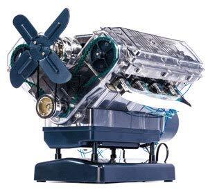 Monsterzeug V8 Motor Bausatz, Modell-Motor selber Bauen, 250-teiliges DIY Kit, transparentes Motorgehäuse, Kurbelwelle, ab 14 Jahren (V8-modell)