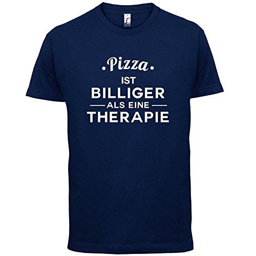 Pizza ist billiger als eine Therapie - Herren T-Shirt - 13 Farben Navy