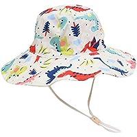 GGLLBL La Prueba Impresa Delgado Banda Sol de los niños de la Moda Casual Sombrero extendido Impreso Historieta del algodón del Cabrito al Aire Libre del Sombrero de Sun (Color : White)