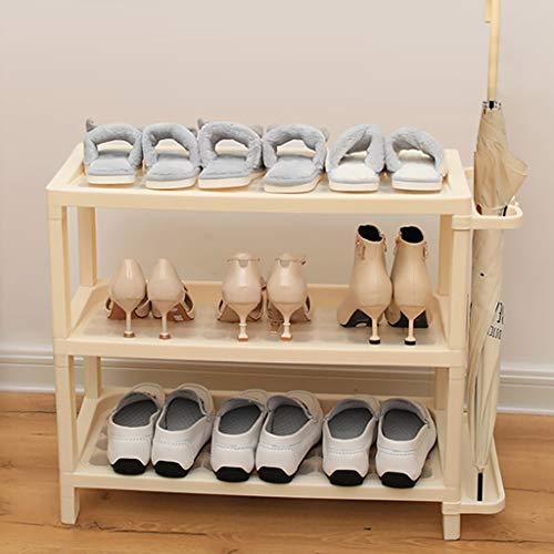 Stapelbaren Kunststoff Regale Für Schuhe,3-tier Platzeinsparung Schuhregal Lagerregal Schirmständer Für Entryway Hallway Bathroom Living Room-beige 65x29.5x58cm(26x12x23inch) - 3-tier Bathroom Regal