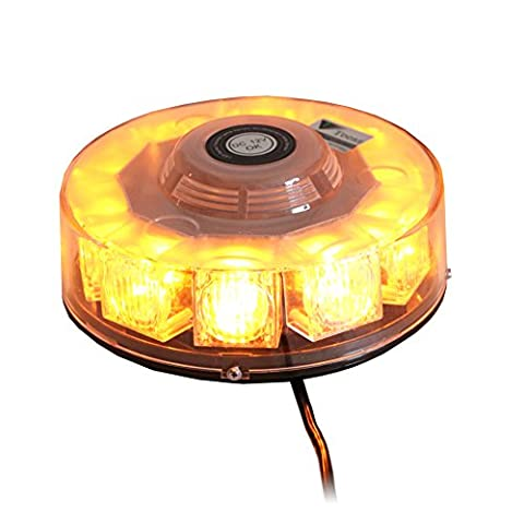 T Tocas High Quality LED Strobe Lights Car Boat Roof Emergency Warning Mini Bar with Magnetic Base, 12V, 7 Flashing Patterns (Amber)